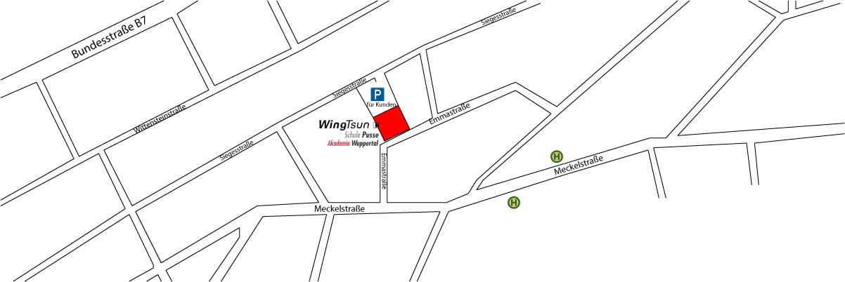 Anfahrt zur WingTsun-Akadenie Wuppertal